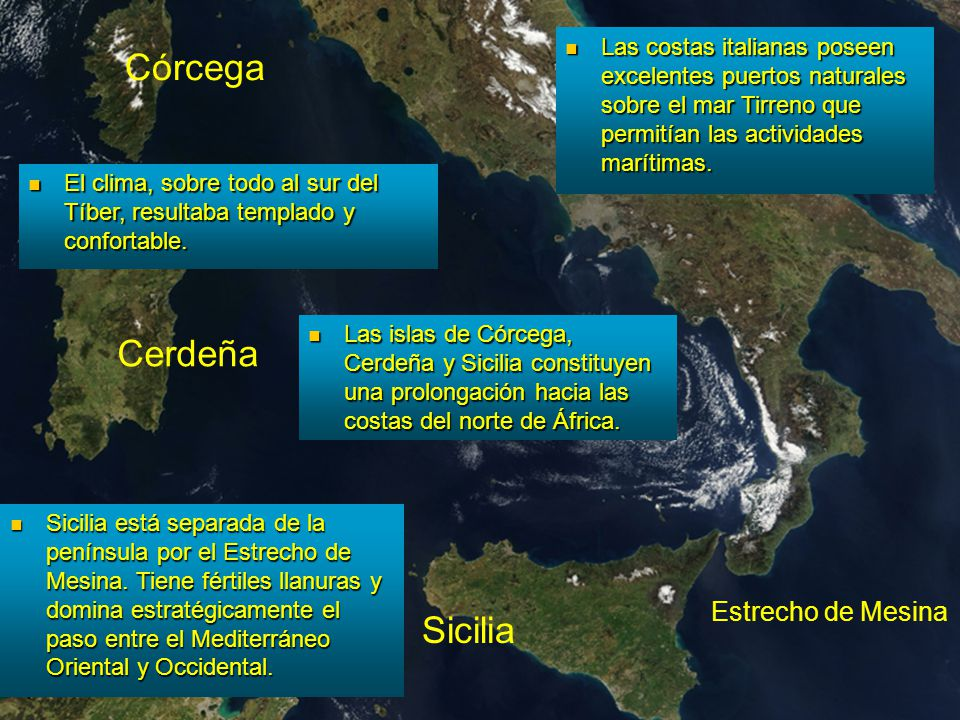 Córcega Cerdeña Sicilia África Estrecho de Mesina Las costas italianas poseen excelentes puertos naturales sobre el mar Tirreno que permitían las acti