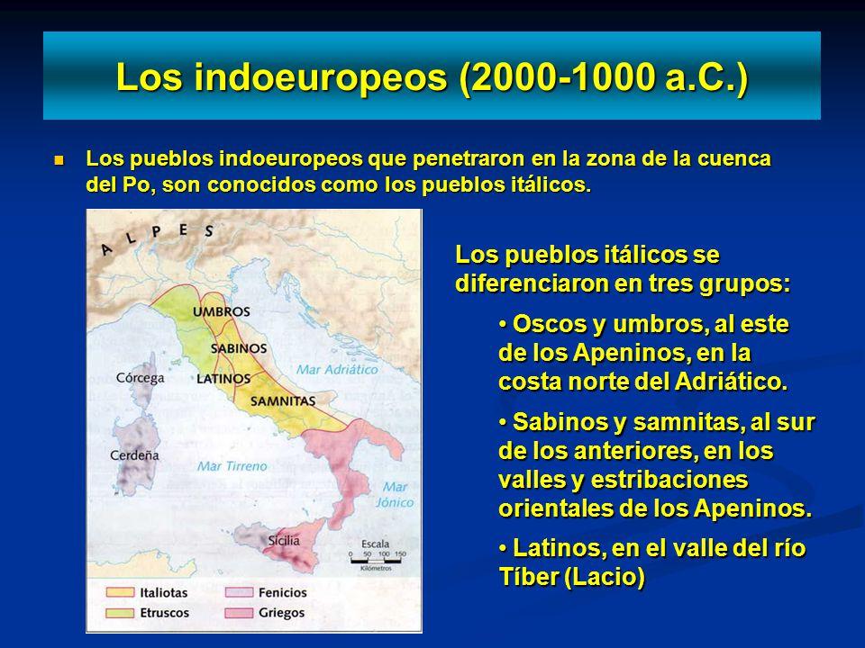 Los indoeuropeos (2000-1000 a.C.) Los pueblos indoeuropeos que penetraron en la zona de la cuenca del Po, son conocidos como los pueblos itálicos. Los