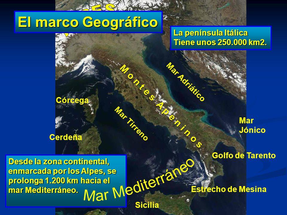 Mar Adriático La península Itálica Tiene unos 250.000 km2. Desde la zona continental, enmarcada por los Alpes, se prolonga 1.200 km hacia el mar Medit