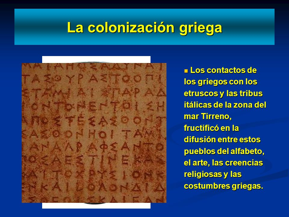 Los contactos de los griegos con los etruscos y las tribus itálicas de la zona del mar Tirreno, fructificó en la difusión entre estos pueblos del alfa