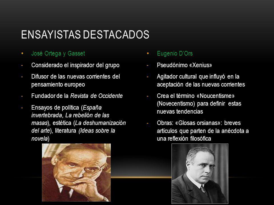 José Ortega y Gasset -Considerado el inspirador del grupo -Difusor de las nuevas corrientes del pensamiento europeo -Fundador de la Revista de Occiden