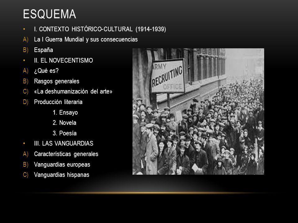 ESQUEMA I. CONTEXTO HISTÓRICO-CULTURAL (1914-1939) A)La I Guerra Mundial y sus consecuencias B)España II. EL NOVECENTISMO A)¿Qué es? B)Rasgos generale