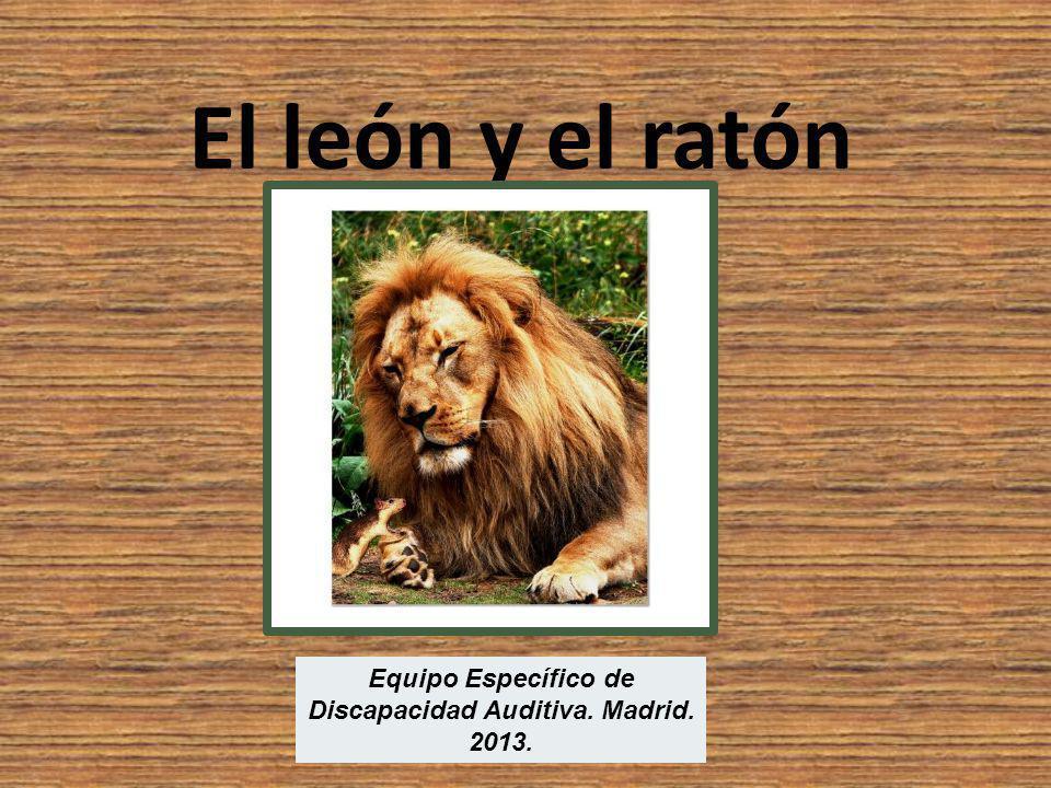Un día el león estaba durmiendo tranquilo. Unos ratoncitos, jugando, despertaron al león.
