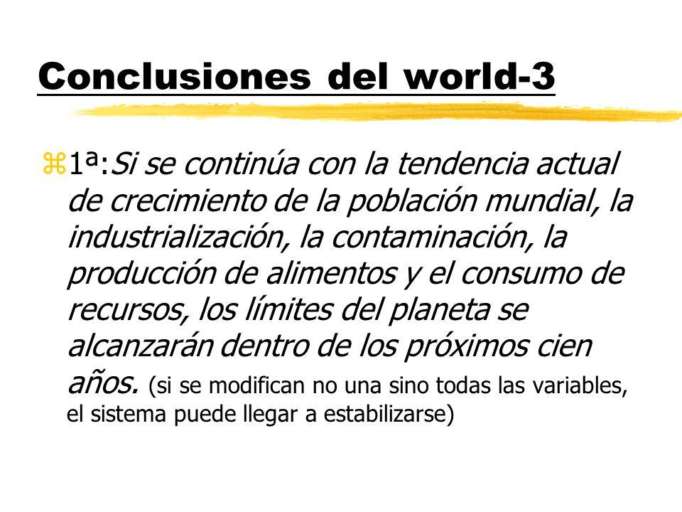 Conclusiones del world-3 z1ª:Si se continúa con la tendencia actual de crecimiento de la población mundial, la industrialización, la contaminación, la