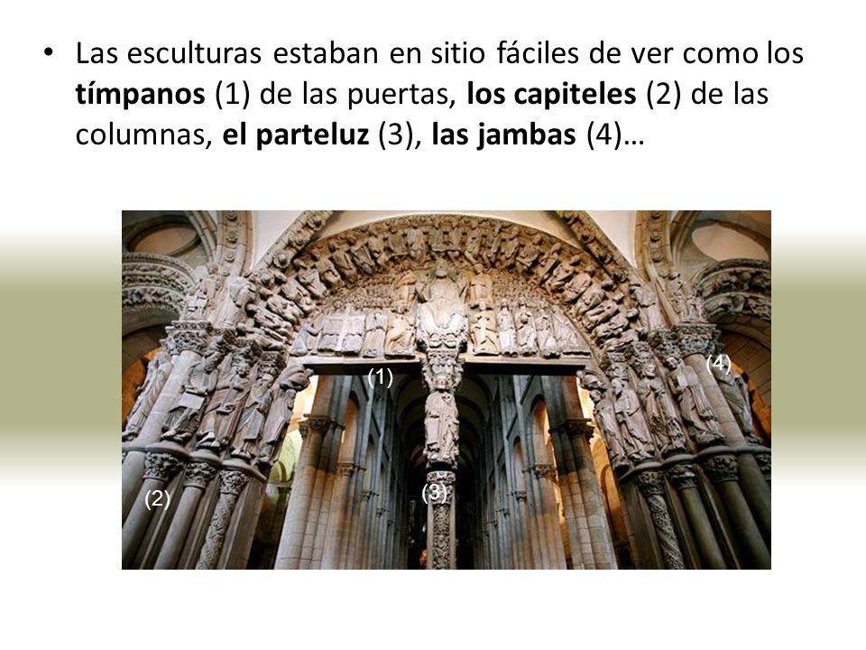 Las esculturas estaban en sitio fáciles de ver como los tímpanos (1) de las puertas, los capiteles (2) de las columnas, el parteluz (3), las jambas (4