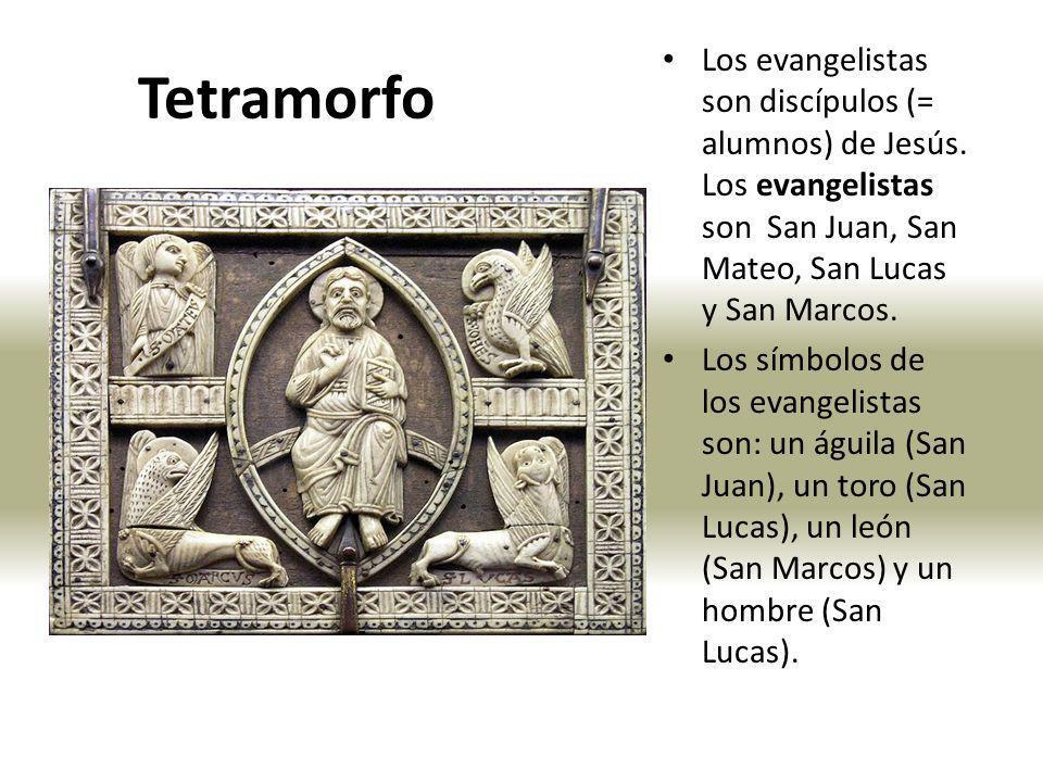 Mano bendiciendo Mano con los Evangelios Mandorla León (aquí con alas) símbolo de San Marcos Toro (= aquí con alas) símbolo de San Lucas Hombre (= aquí con alas como un ángel) símbolo de San Mateo Águila símbolo de San Juan