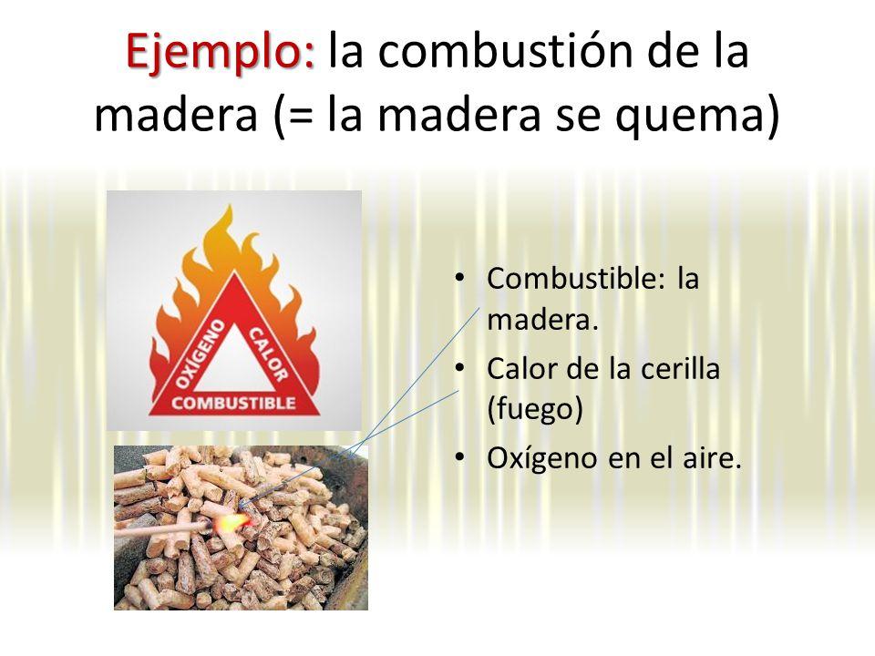 Ejemplo: Ejemplo: la combustión de la madera (= la madera se quema) Combustible: la madera.