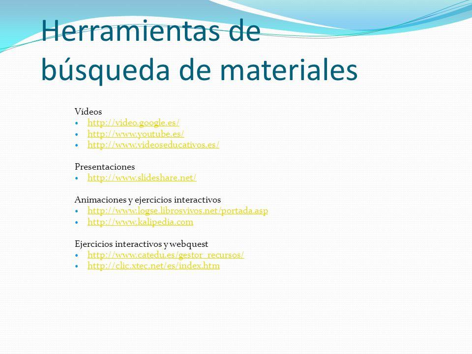 Tipos de recursos y materiales digitales que podemos utilizar Presentaciones Vídeos Animaciones Ejercicios interactivos genéricos (sopa de letras, puz