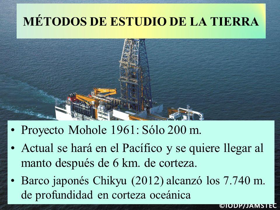 Proyecto Mohole 1961: Sólo 200 m. Actual se hará en el Pacífico y se quiere llegar al manto después de 6 km. de corteza. Barco japonés Chikyu (2012) a