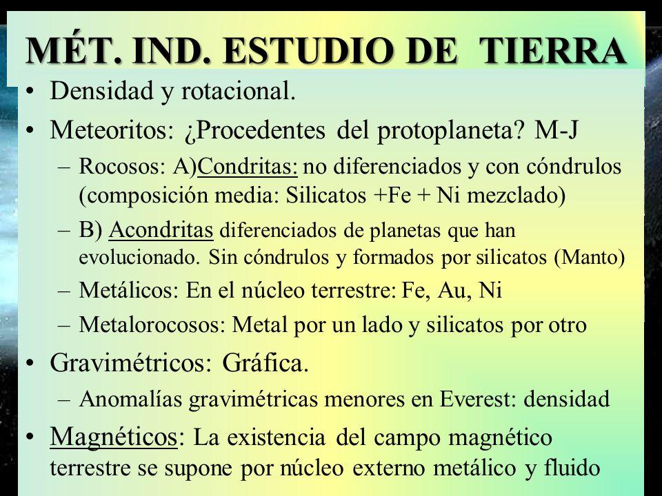 Meteorito metalo-rocoso y metálico Fe-Ni MÉT. IND. ESTUDIO DE TIERRA Densidad y rotacional. Meteoritos: ¿Procedentes del protoplaneta? M-J –Rocosos: A