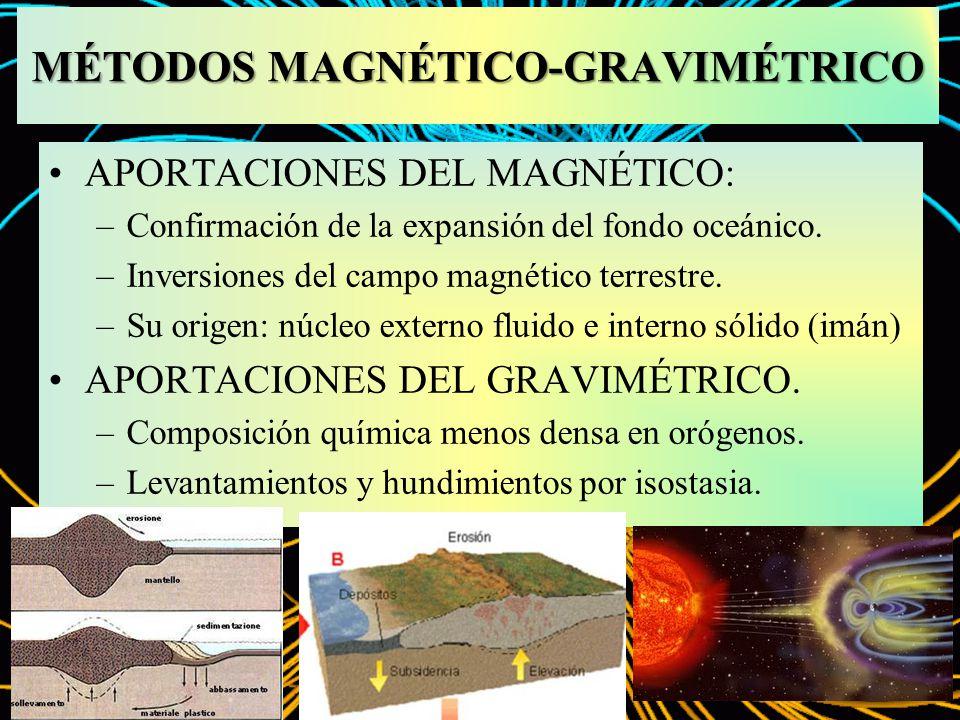 MÉTODOS MAGNÉTICO-GRAVIMÉTRICO APORTACIONES DEL MAGNÉTICO: –Confirmación de la expansión del fondo oceánico. –Inversiones del campo magnético terrestr