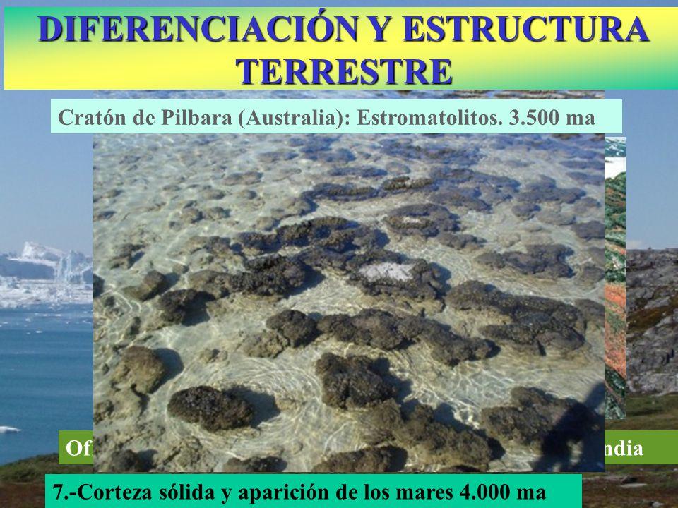 Ofiolitas marinas más antiguos (3.800 m.a.) en Groenlandia 7.-Corteza sólida y aparición de los mares 4.000 ma DIFERENCIACIÓN Y ESTRUCTURA TERRESTRE C
