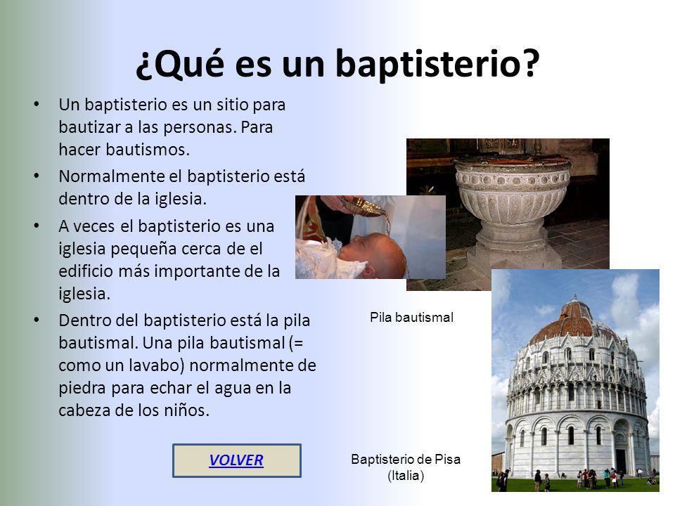 ¿Qué es un baptisterio? Un baptisterio es un sitio para bautizar a las personas. Para hacer bautismos. Normalmente el baptisterio está dentro de la ig