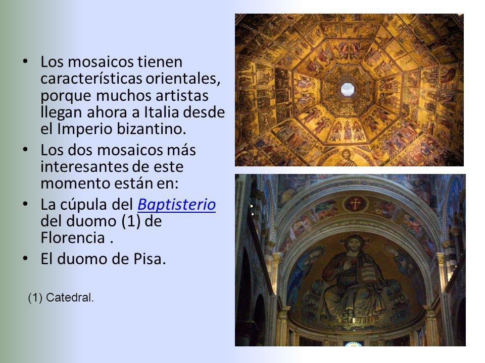 Los mosaicos tienen características orientales, porque muchos artistas llegan ahora a Italia desde el Imperio bizantino. Los dos mosaicos más interesa