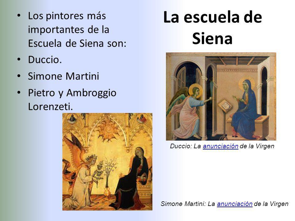 La escuela de Siena Los pintores más importantes de la Escuela de Siena son: Duccio. Simone Martini Pietro y Ambroggio Lorenzeti. Duccio: La anunciaci