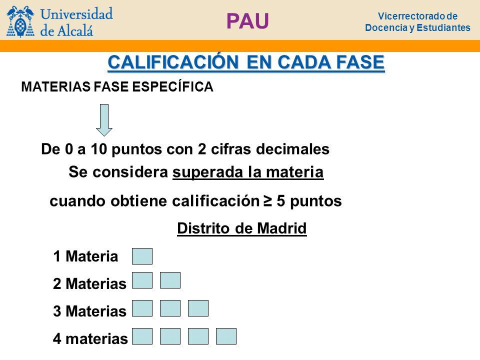 Vicerrectorado de Docencia y Estudiantes PAU CALIFICACIÓN EN CADA FASE MATERIAS FASE ESPECÍFICA Distrito de Madrid De 0 a 10 puntos con 2 cifras decim