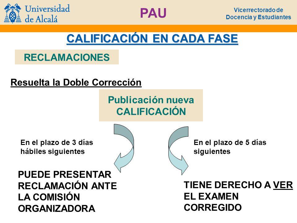 Vicerrectorado de Docencia y Estudiantes PAU CALIFICACIÓN EN CADA FASE Resuelta la Doble Corrección RECLAMACIONES Publicación nueva CALIFICACIÓN En el