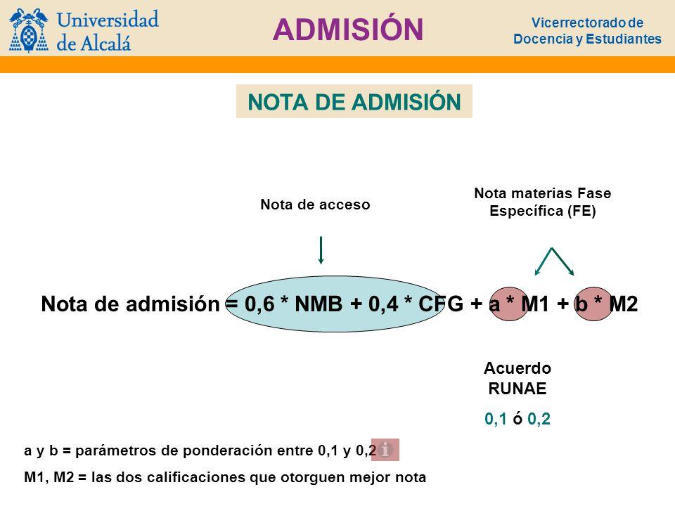 Vicerrectorado de Docencia y Estudiantes ADMISIÓN a y b = parámetros de ponderación entre 0,1 y 0,2 M1, M2 = las dos calificaciones que otorguen mejor