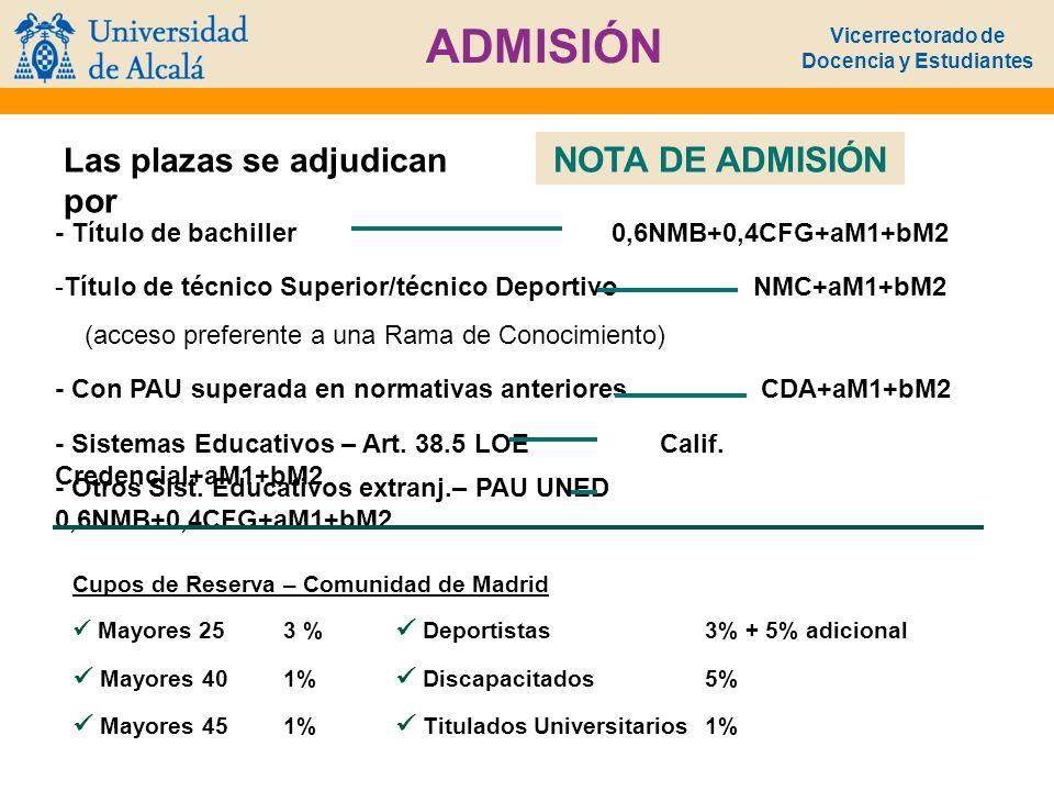 Vicerrectorado de Docencia y Estudiantes ADMISIÓN Las plazas se adjudican por NOTA DE ADMISIÓN - Título de bachiller 0,6NMB+0,4CFG+aM1+bM2 -Título de