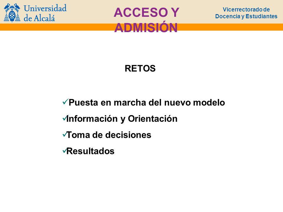 Vicerrectorado de Docencia y Estudiantes ACCESO Y ADMISIÓN RETOS Puesta en marcha del nuevo modelo Información y Orientación Toma de decisiones Result