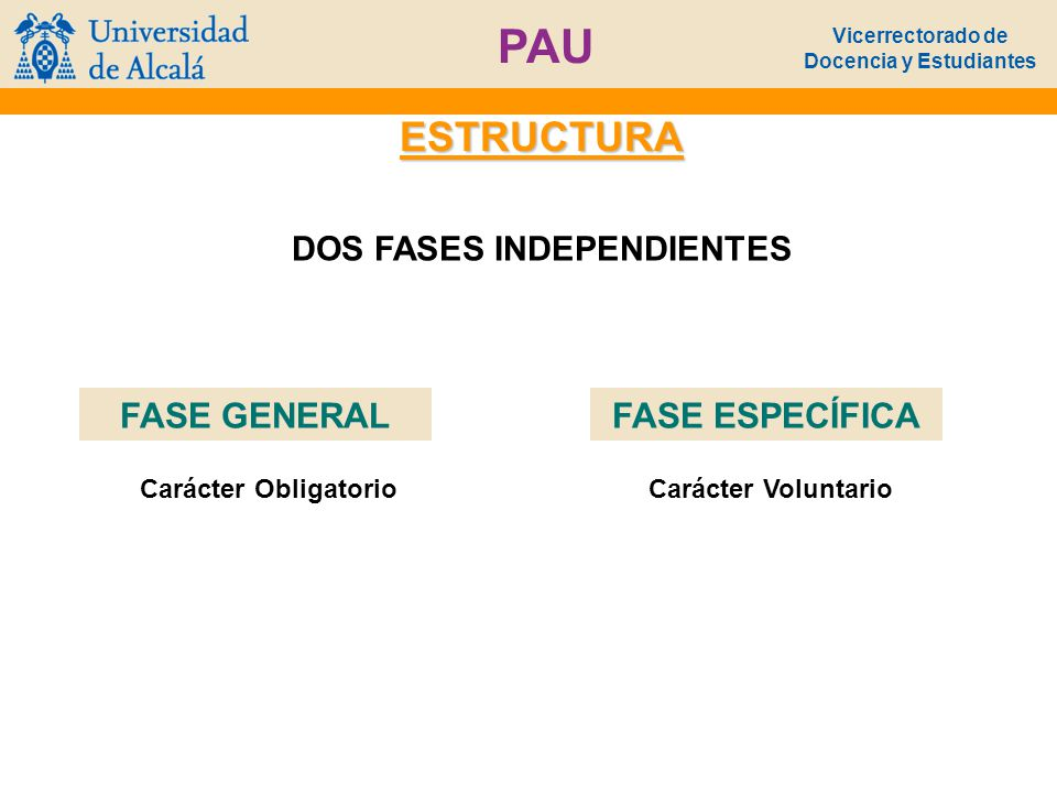 Vicerrectorado de Docencia y Estudiantes PAU ESTRUCTURA DOS FASES INDEPENDIENTES FASE GENERAL 4 EJERCICIOS 1º.