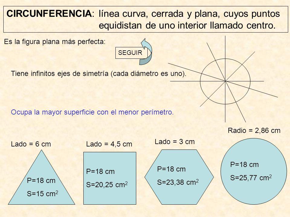 CIRCUNFERENCIA: línea curva, cerrada y plana, cuyos puntos equidistan de uno interior llamado centro. Ocupa la mayor superficie con el menor perímetro