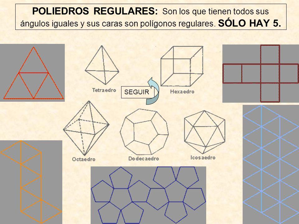 POLIEDROS REGULARES: Son los que tienen todos sus ángulos iguales y sus caras son polígonos regulares. SÓLO HAY 5.
