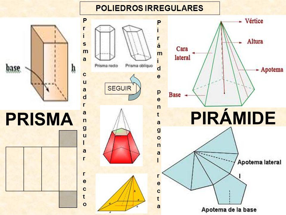 POLIEDROS IRREGULARES SEGUIR PIRÁMIDE PRISMA Pirámide pentagonal rectaPirámide pentagonal recta Prisma cuadrangular rectoPrisma cuadrangular recto