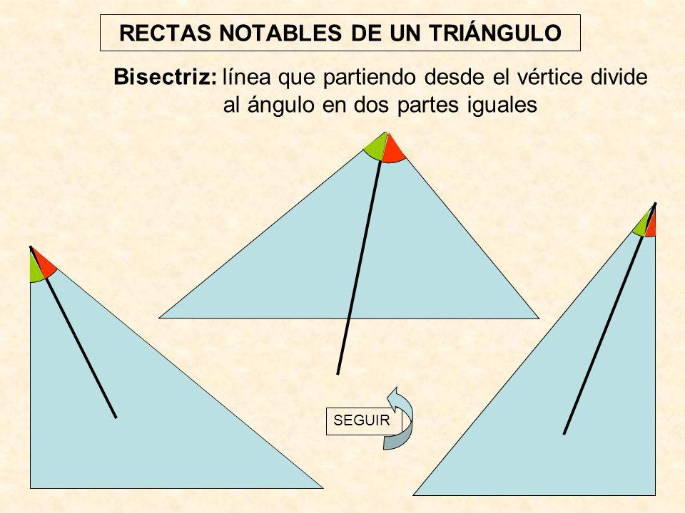 RECTAS NOTABLES DE UN TRIÁNGULO Bisectriz: línea que partiendo desde el vértice divide al ángulo en dos partes iguales SEGUIR