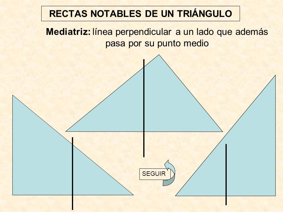 RECTAS NOTABLES DE UN TRIÁNGULO Mediatriz: línea perpendicular a un lado que además pasa por su punto medio SEGUIR