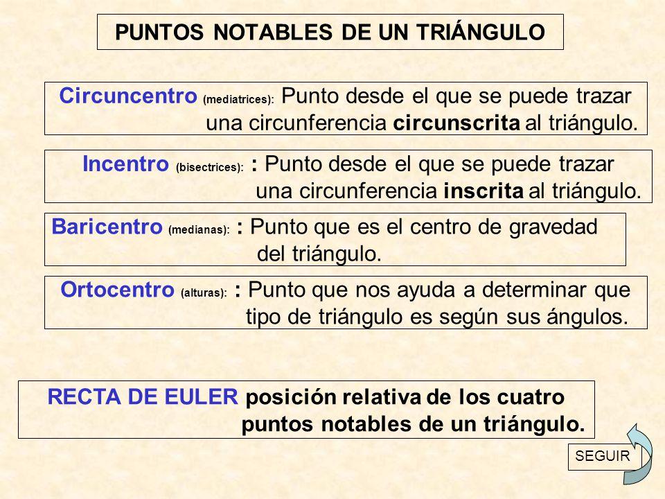 PUNTOS NOTABLES DE UN TRIÁNGULO Circuncentro (mediatrices): Punto desde el que se puede trazar una circunferencia circunscrita al triángulo. Incentro