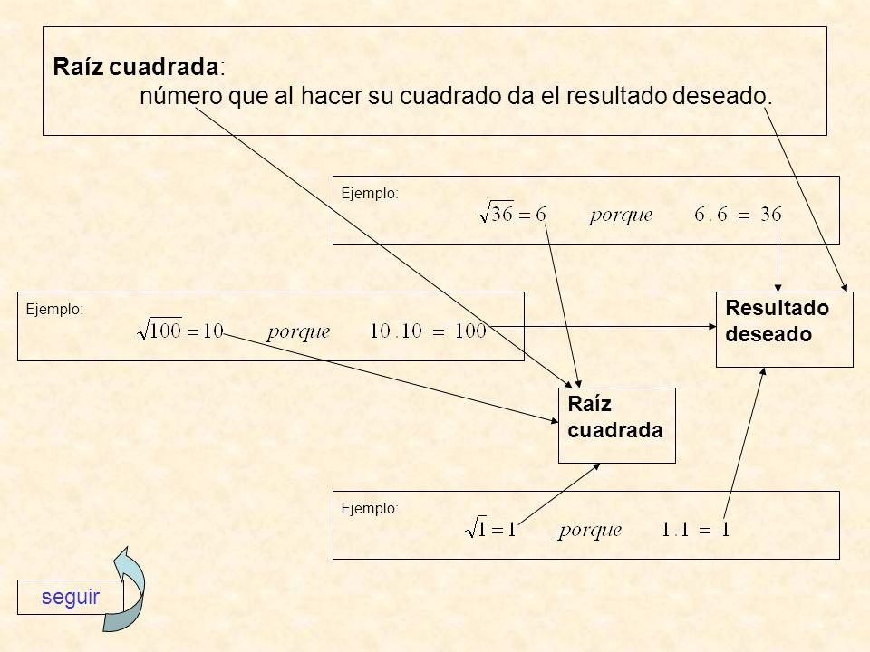 Raíz cuadrada: número que al hacer su cuadrado da el resultado deseado. Ejemplo: seguir Raíz cuadrada Resultado deseado