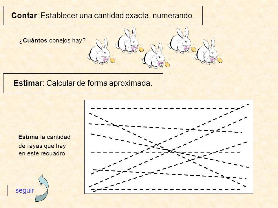¿Cuántos conejos hay? Estima la cantidad de rayas que hay en este recuadro Contar: Establecer una cantidad exacta, numerando. Estimar: Calcular de for