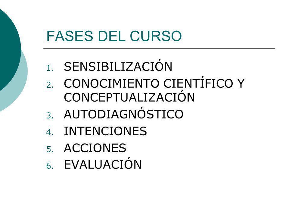 FASES DEL CURSO 1. SENSIBILIZACIÓN 2. CONOCIMIENTO CIENTÍFICO Y CONCEPTUALIZACIÓN 3. AUTODIAGNÓSTICO 4. INTENCIONES 5. ACCIONES 6. EVALUACIÓN