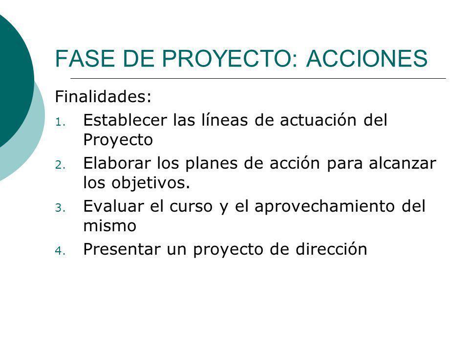 FASE DE PROYECTO: ACCIONES Finalidades: 1. Establecer las líneas de actuación del Proyecto 2. Elaborar los planes de acción para alcanzar los objetivo