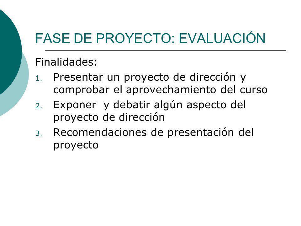 FASE DE PROYECTO: EVALUACIÓN Finalidades: 1. Presentar un proyecto de dirección y comprobar el aprovechamiento del curso 2. Exponer y debatir algún as