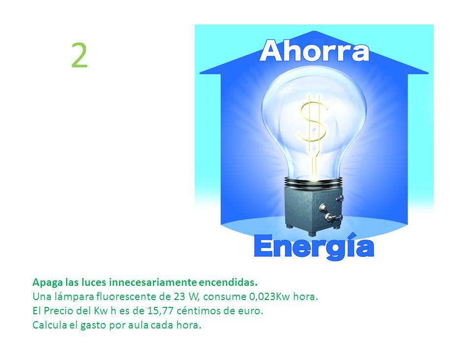 Apaga las luces innecesariamente encendidas. Una lámpara fluorescente de 23 W, consume 0,023Kw hora. El Precio del Kw h es de 15,77 céntimos de euro.