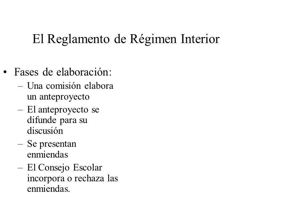 El Reglamento de Régimen Interior Fases de elaboración: –Una comisión elabora un anteproyecto –El anteproyecto se difunde para su discusión –Se presentan enmiendas –El Consejo Escolar incorpora o rechaza las enmiendas.