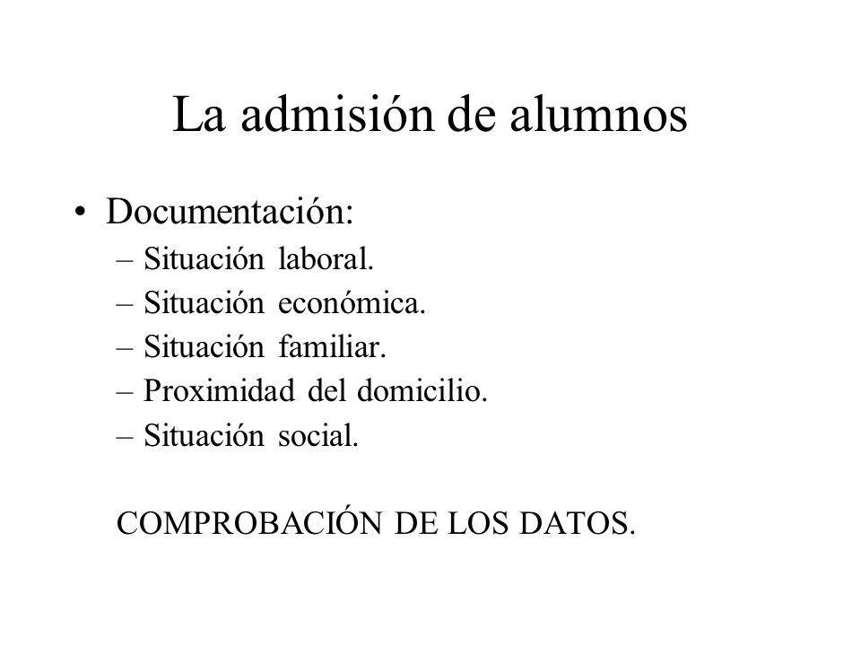 La admisión de alumnos Documentación: –Situación laboral.