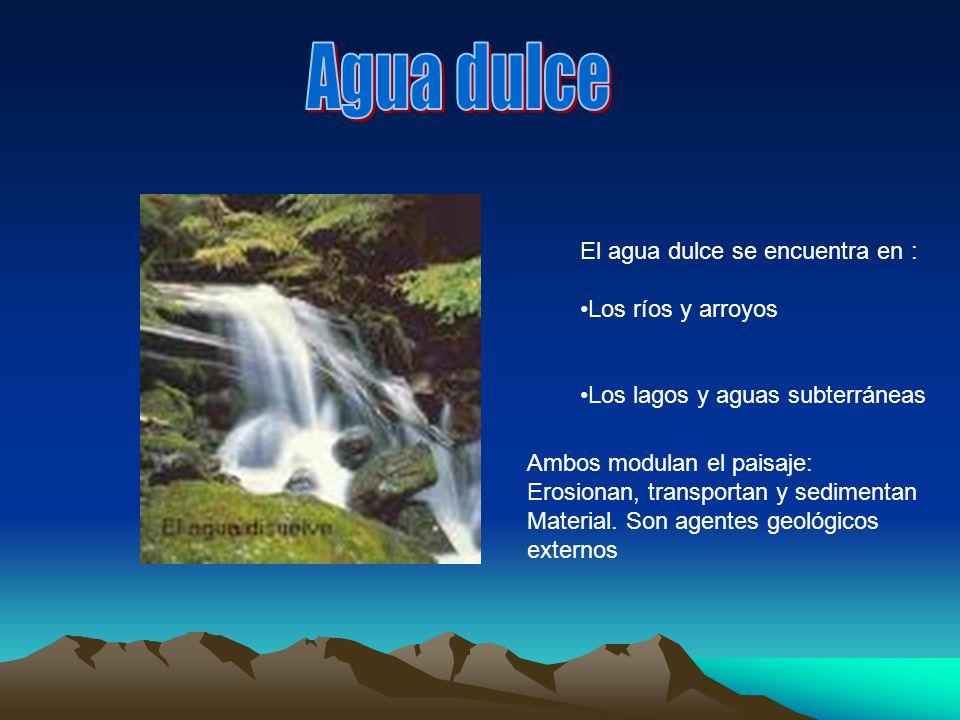 Agua dulce: Los rios Agua salada Océanos