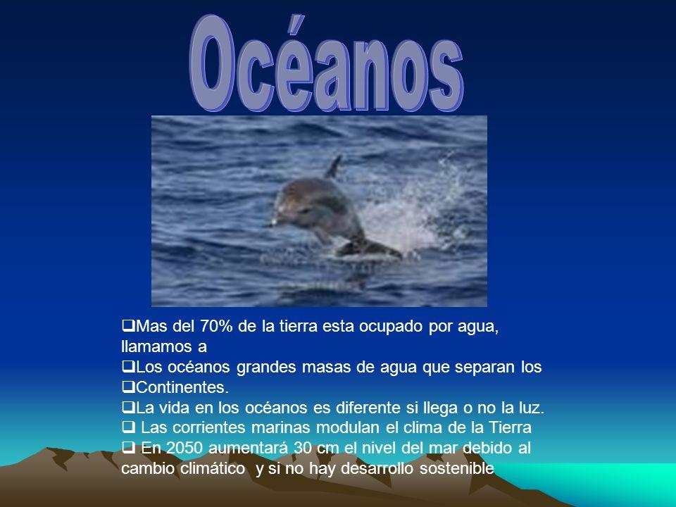 Mas del 70% de la tierra esta ocupado por agua, llamamos a Los océanos grandes masas de agua que separan los Continentes.