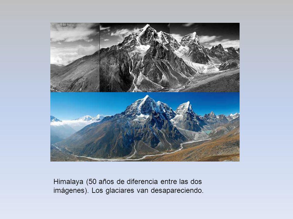 Himalaya (50 años de diferencia entre las dos imágenes). Los glaciares van desapareciendo.
