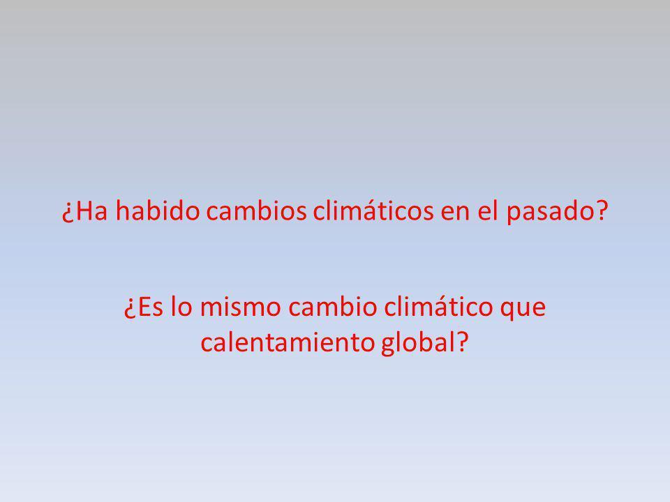 ¿Ha habido cambios climáticos en el pasado? ¿Es lo mismo cambio climático que calentamiento global?