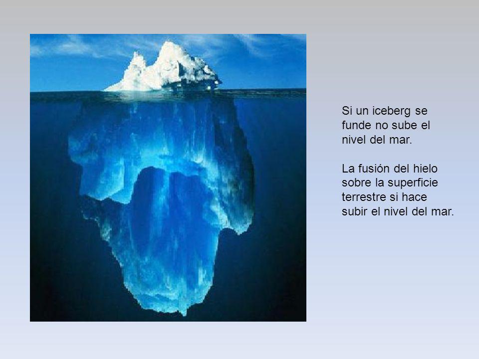 Si un iceberg se funde no sube el nivel del mar. La fusión del hielo sobre la superficie terrestre si hace subir el nivel del mar.