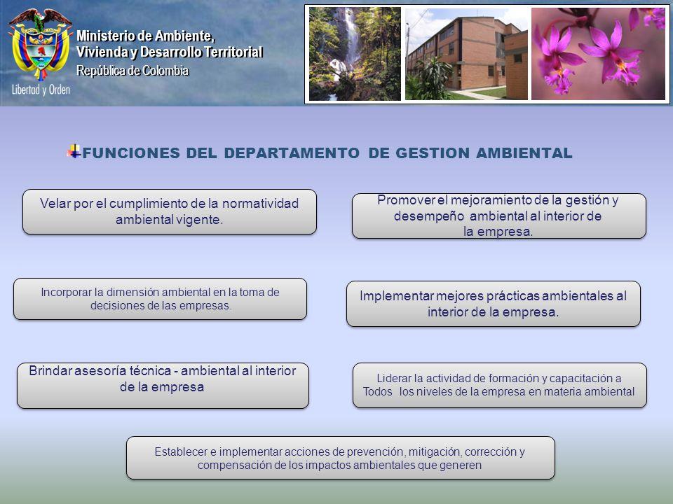 Ministerio de Ambiente, Vivienda y Desarrollo Territorial República de Colombia Ministerio de Ambiente, Vivienda y Desarrollo Territorial República de Colombia FUNCIONES DEL DEPARTAMENTO DE GESTION AMBIENTAL Velar por el cumplimiento de la normatividad ambiental vigente.