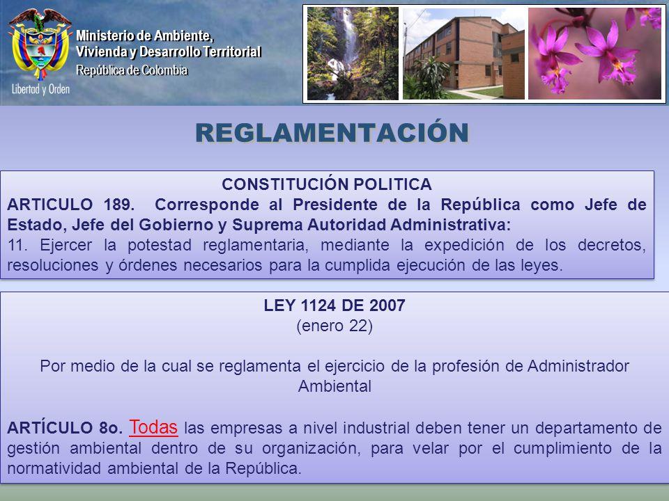 Ministerio de Ambiente, Vivienda y Desarrollo Territorial República de Colombia Ministerio de Ambiente, Vivienda y Desarrollo Territorial República de Colombia REGLAMENTACIÓN LEY 1124 DE 2007 (enero 22) Por medio de la cual se reglamenta el ejercicio de la profesión de Administrador Ambiental ARTÍCULO 8o.
