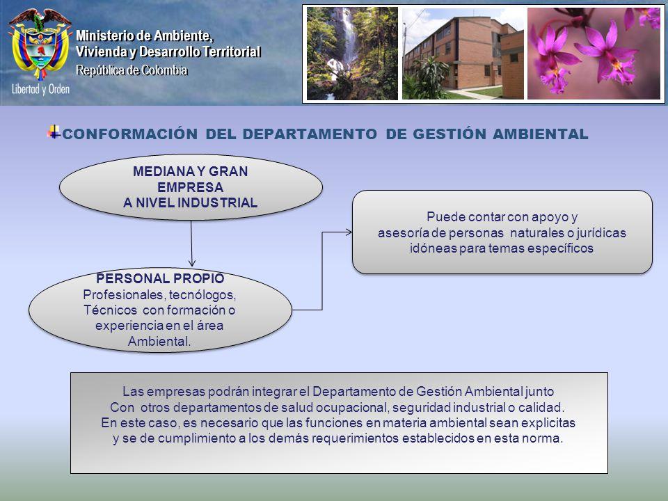 Ministerio de Ambiente, Vivienda y Desarrollo Territorial República de Colombia Ministerio de Ambiente, Vivienda y Desarrollo Territorial República de Colombia CONFORMACIÓN DEL DEPARTAMENTO DE GESTIÓN AMBIENTAL PERSONAL PROPIO Profesionales, tecnólogos, Técnicos con formación o experiencia en el área Ambiental.