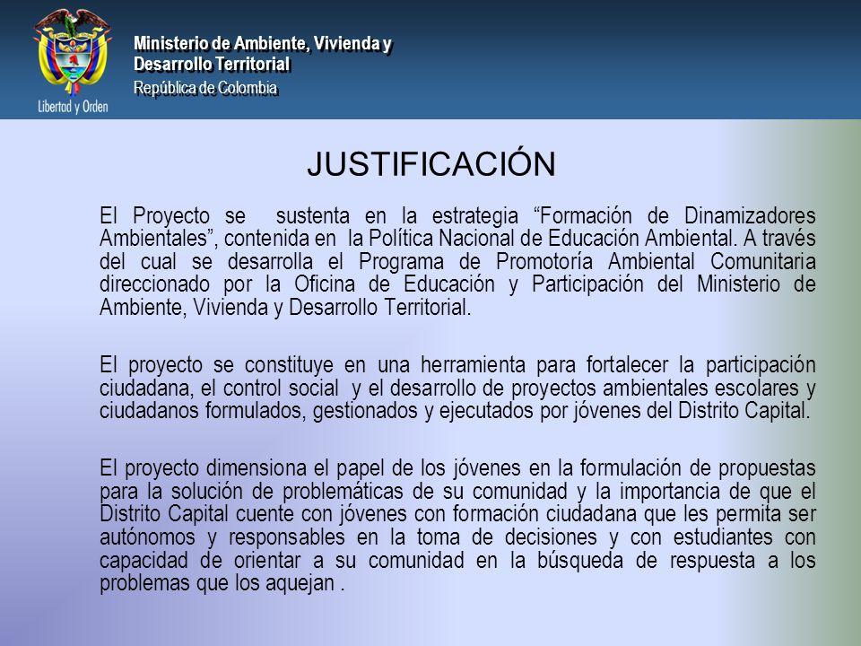 PRESIDENCIA DE LA REPÚBLICA Ministerio de Ambiente, Vivienda y Desarrollo Territorial Ministerio de Ambiente, Vivienda y Desarrollo Territorial República de Colombia Ministerio de Ambiente, Vivienda y Desarrollo Territorial República de Colombia Normatividad en la que se ampara Constitución Política de Colombia Ley 115 de 1994: Art.