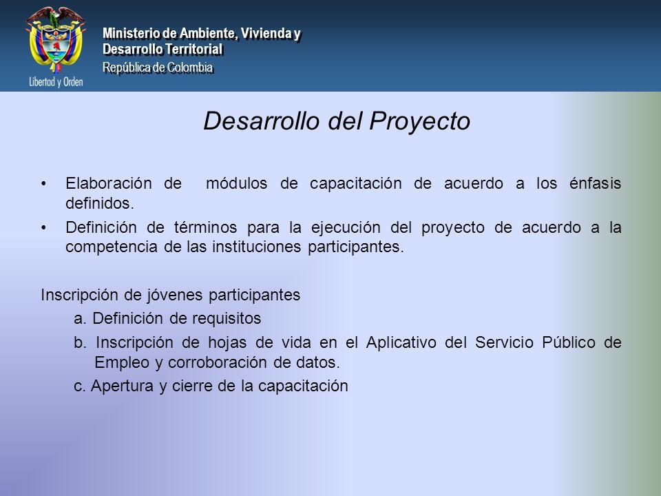 PRESIDENCIA DE LA REPÚBLICA Ministerio de Ambiente, Vivienda y Desarrollo Territorial Ministerio de Ambiente, Vivienda y Desarrollo Territorial República de Colombia Ministerio de Ambiente, Vivienda y Desarrollo Territorial República de Colombia Elaboración de módulos de capacitación de acuerdo a los énfasis definidos.