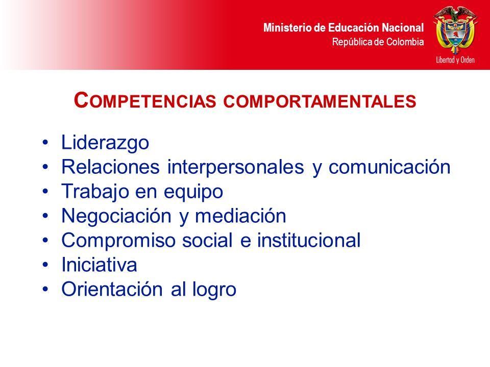 Ministerio de Educación Nacional República de Colombia Liderazgo Relaciones interpersonales y comunicación Trabajo en equipo Negociación y mediación C